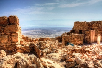 The view from beautiful Masada with the Dead Sea in the background